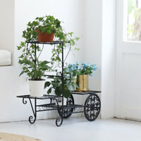 UNHO Metal Wrought Iron Plant Stands Rack Shelves Flowers Display Outdoor Indoor
