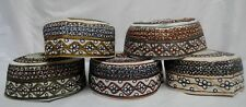 Tajikistani Kufic Mens Hat Skull Cap Namaz Topi Stitched Embroidery 7  Designs