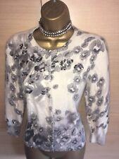 Exquisite Karen Millen moelleux doux angora Stud Popper Cardigan Uk14