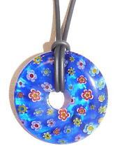 """Pendentif """"Donut"""" verre style Murano Millefiori. 35 mm"""
