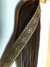 10 yds SCA, RENAISSANCE, CELTIC JACQUARD RIBBON TRIM BROWN AWESOME TRIM