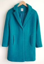 TU LADIES TEAL BOUCLE COAT WITH 46% WOOL SIZE 10 HARDLY WORN