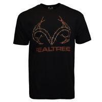 REALTREE Mens Tee T Shirt L XL XXL Hunting Camping Logo Camo Sleeve Deer BLACK