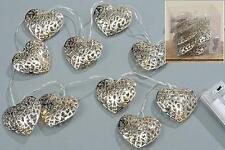 LED Battery Heart Shaped Silver Filigree Fairy 10 Lights
