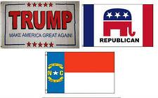 3x5 Trump White #2 & Republican & State North Carolina Wholesale Set Flag 3'x5'