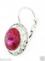 SWAROVSKI ® ELEMENTS-10MM -CRYSTAL FUCHSIA- SILVER PLATED LEVERBACK EARRINGS