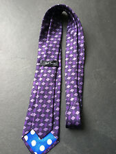 Paul Smith Cravate en soie - Violet à motif - Pois doublure - 9cm Lame - défauts