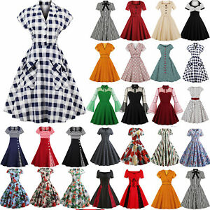 50s 60s Vintage Style Ladies Pinup Swing Skater Party Rockabilly Housewife Dress