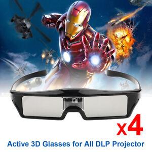 4X 3D-Brillen Aktiv Für Alle 3D-DLP-Projektoren Optoma Benq Acer Viewsonic Dell