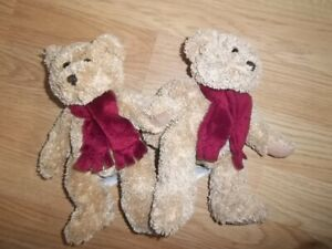 """2 X 8"""" M&S MARKS SPENCER  BURGUNDY MAROON SCARF TEDDY BEARS 2616 360 - EXCELLENT"""
