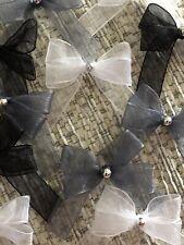 21 Small 3.5cm Black,Grey &White Organza Bows With Silver Pearl Rhinestone