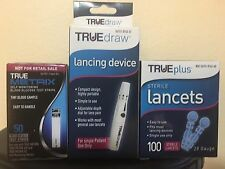 50 TRUE METRIX Glucose test strips,100 Lancets And Lancing Device EXP 5/2019
