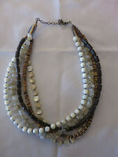 Silpada 5 Strand Necklace Mother of Pearl Quartz Tiger Coconut Wood Silver