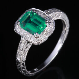 Sterling Silver Engagement Wedding Genuine Diamonds Ring 7X5mm Treated Emerald