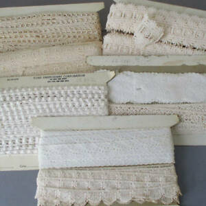 """Huge Lot 6 Bolts Vintage Creamy LACE + Embroidered Trims 5/8""""-2.5""""W * 60+ Yards"""