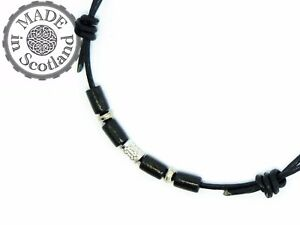 LEATHER SURFER BEADED TRIBAL DOUBLE CHOKER ADJUSTABLE NECKLACE & TIBETAN SILVER