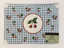 New* Mary Engelbreit Paper Placemats Pack of 6 count Red Cherries Blue Checkers