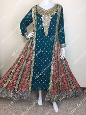 Pakistani Indian Designer Wedding Gown Shalwar Kameez Embroidery Dress L