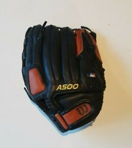 "Wilson Baseball Glove A500 Left Hand Throw 12"" Baseball Mitt Leather A0502"