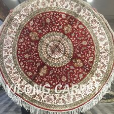 Yilong 5'x5' Red Hand Knotted Silk Carpets Round Area Rug Circular Cushion W116C