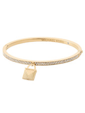 MICHAEL KORS Womens Yellow Gold Tone Bangle Bracelet Padlock Crystals MKJ6993710