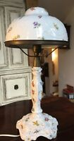 """Rare Antique Porcelain Floral 18"""" tall Parlor Lamp with Matching Shade"""