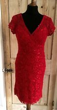 Red Lace + Sequin Cocktail Bodycon Dress by Scarlett Nite .. UK 6
