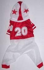 "Football Player Dog Costume Medium 13"" long, 19"" girth Red white Halloween"