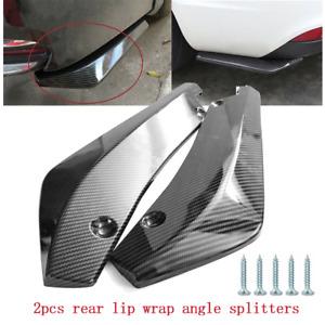 2pcs Universal Carbon Fiber Rear Bumper Lip Diffuser Splitter Canard Protector B