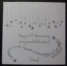 Personalised Handmade On Our 25th Silver Wedding Anniversary Card -Husband -Wife