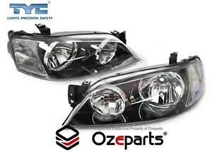 TYC Set Pair LH+RH Head Light Lamp Black For Ford Falcon BA BF Series 1 XT 02~06