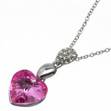 7.48 Ct Heart Cut Style Shape Pink Sapphire CZ 18K White Gold Plated Pendant
