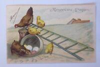 """""""Ostern, Küken, Huhn, Hase, Leiter, Ostereier""""  1903, Prägekarte ♥ (63063)"""