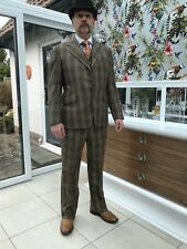 Robert Old & Co. bespoke check 3 piece suit 43 ch 34 wa Great Vintage condition