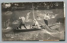 """Great Sport Fishing"" Exaggeration RPPC Fantasy Photo—Boat—Toronto Pub 1910s"