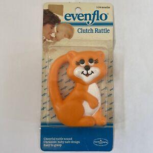 Vintage Baby Rattle Toy Evenflo Cat Kitten 80s Orange Cheerful Clutch Grasp NOS