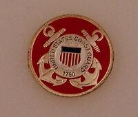 "United States Coast Guard Logo Red Lapel LARGE Pin USCG US 1"" inch"