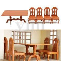 1:12 Dining Room Table With 4 Chairs Set Dolls House Kitchen Miniature Furniture