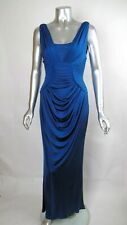 100% Auth Sexy CHRISTIAN DIOR Cobalt Blue Pleated Ruched Bodycon Gown Dress