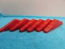 """Lot Of 6 Vintage Lincoln Log Replacement Part 6"""" Notch Red Roof"""