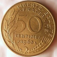 1963 FRANCE 50 CENTIMES - Excellent Vintage Coin - BARGAIN BIN #129