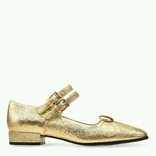 SIZE 4 US 6 ORLA KIELY ANGELINA GOLD SPARKLY LEATHER WOMENS SHOES NEW NICE GIFT