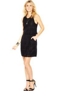 NWT Womens Lucky Brand Black Lace Overlay Layered Sleeveless Dress Sz S Small
