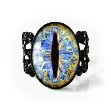 Ice Blue Fantasy Cat Taxidermy Eyeball Jet Black Halloween Glass Filigree Ring