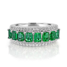 Real 2.13ct Natural Green Emerald & Diamonds Engagement Ring 18K Solid Gold