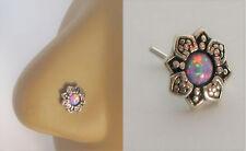 Sterling Silver Nose Stud Pin Ring Bent L Shape Mauve Opal Flower 20 gauge 20g