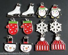 12 Enamel Ice Skate Penguin Snowflake Mitten Hat Winter Charms Jewelry EC12