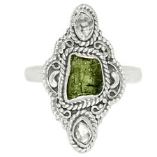Filigree - Genuine Czech Moldavite 925 Sterling Silver Ring Jewelry s.9 BR82024