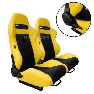 2 X TANAKA YELLOW & BLACK RACING SEATS RECLINABLE + SLIDERS FOR ALL MITSUBISHI