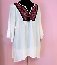 NWT White Gauze Beaded Blouse Ethnic Inspired Floaty Top Size 2X